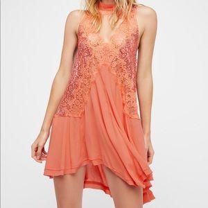 Free People Orange Cross My Heart Lace Tunic Dress